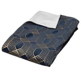 Plaid design art déco Merveilles - L. 130 x l. 160 cm - Bleu et or