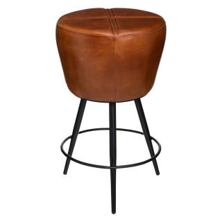 Tabouret de bar design industriel Retro factory - L. 50 x H. 47 cm - Marron cognac