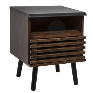 Table de chevet design bois Asmar - L. 39 x H. 51 cm - Marron et noir