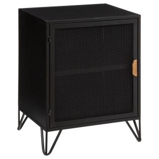 Table de chevet design industriel Bay - L. 41 x H. 55 cm - Noir