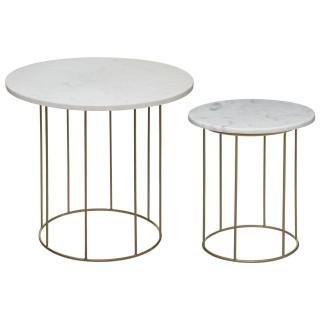 2 Tables à café design marbre Béa - Blanc et doré