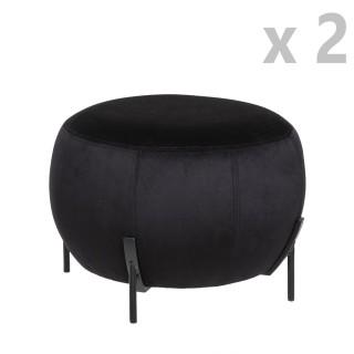 2 Tabourets design velours Calabaza - Diam. 44 x H. 35 cm - Noir