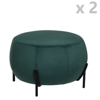 2 Tabourets design velours Calabaza - Diam. 44 x H. 35 cm - Vert émeraude