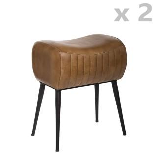 2 Tabourets design industriel cuir Kavali - L. 40 x H. 51 cm - Marron cognac