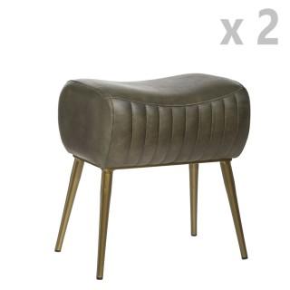 2 Tabourets design industriel cuir Kavali - L. 40 x H. 51 cm - Vert