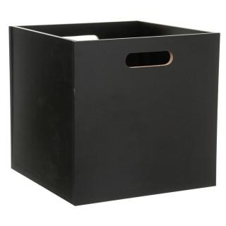 Boîte de rangement design bois Mix n' modul - L. 30 x l. 30 cm - Noir