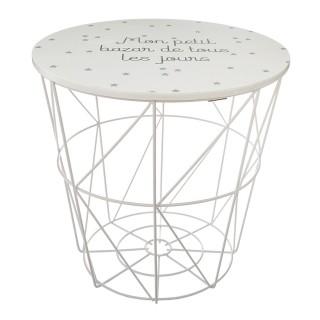 Table de rangement design enfant Kumi - Diam. 30 x H. 30 cm - Blanc
