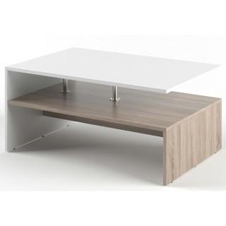 Table basse rectangulaire design scandinave Isidor - L. 90 x H. 42 cm - Couleur bois et blanc