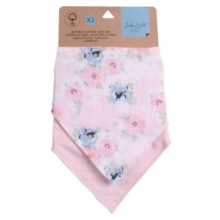 Lot de 2 bavoirs bandana pour enfant - modèle Fleurs