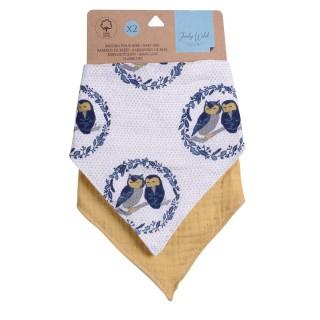 Lot de 2 bavoirs bandana pour enfant - modèle Oiseaux
