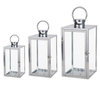 Lot de 3 lanterne en métal avec anneaux - H. 44cm.