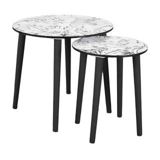 Duo de tables gigognes Natural wild - Blanc et Noir