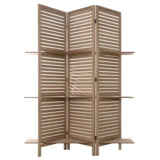 Paravent 3 étagères - H. 170 cm - Couleur bois