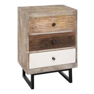 Table de chevet 3 tiroir - H.73 cm - Multicouleur