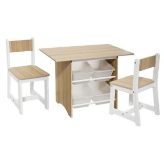 Ensemble pour Enfant Table avec 4 bacs et 2 chaises - Beige et Blanc - H. 52,5 cm