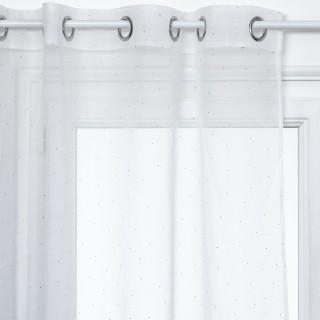 Voilage design 3D Pois couleur or - 140 x 240 cm - Blanc