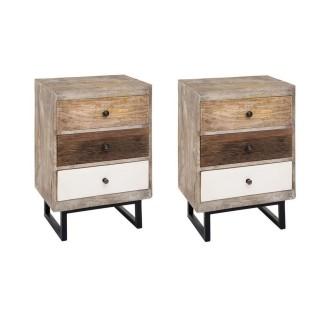 Lot de 2 tables de chevet 3 tiroirs - H.73 cm - Multicouleur