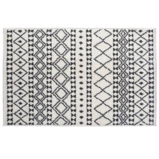 Tapis etnique à motifs géométriques - Noir et Blanc - 120 x 170 cm