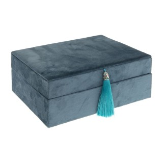 Boîte à bijoux effet velours et détail pampille - Modèle Hiver - Bleu moyen