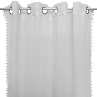 Rideau pour chambre d'enfant à pompoms gris - H. 260 cm