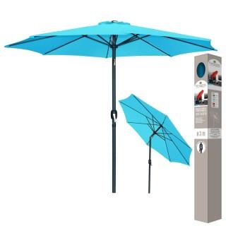 Parasol inclinable avec Mat en Aluminium - Turquoise - Diam 300 cm