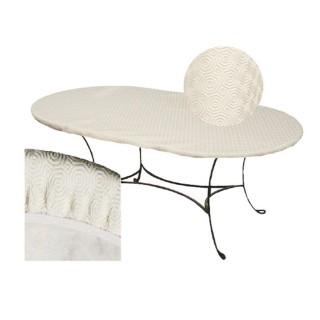 Sous-nappe protège table ovale Basic - L. 125 x l. 195 cm - Blanc