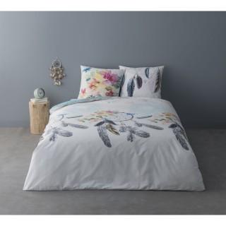 Parure de lit ethnique Xavier - 100% coton percale - 240 x 220 cm - Blanc