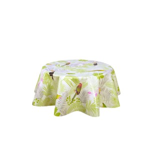 Nappe ronde en toile cirée  tropicale Raphy - Diam. 150 cm - Blanc