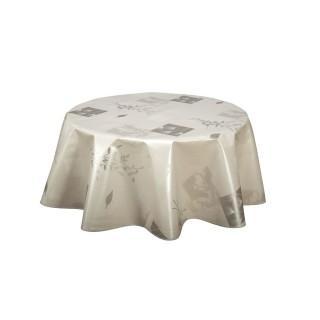 Nappe ronde en toile cirée  Etamines - Diam. 150 cm - Argent
