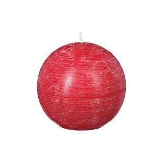 Lot 2x Bougie boule Rustic - Diam. 12 cm - Rouge