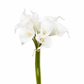 Lot 2x Bouquet 8 Arums artificiels - H. 36 cm - Blanc