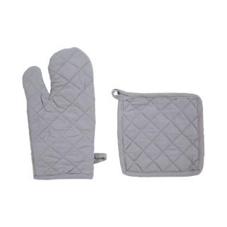 Lot 2x Gant et manique - Coton - Gris clair