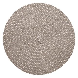 Lot 6x Set de table design tressé Irise - Diam. 38 cm - Gris