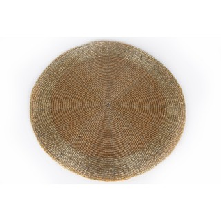 Lot 6x Set de table design perles Alix - Diam. 30 cm - Doré
