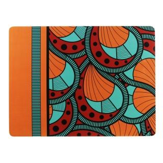 Lot 6x Set de table ethnique Wax - L. 39,5 x l. 29,5 cm - Orange