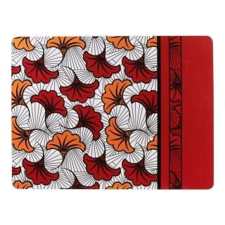 Lot 6x Set de table ethnique Wax - L. 39,5 x l. 29,5 cm - Rouge