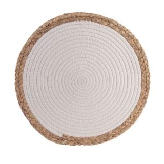 Lot 6x Set de table bord de mer Seagrass - Diam. 38 cm - Blanc