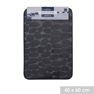 Lot 2x Tapis de salle de bain Bolbo - Mémoire de forme - Gris anthracite