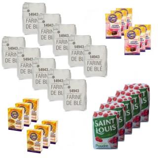 Lot Farine, sucre, levure boulangère et chimique