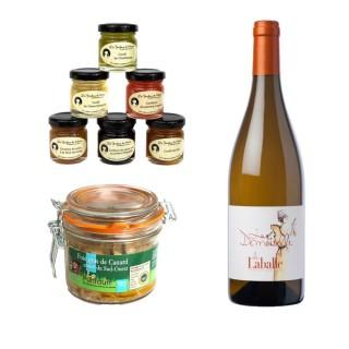Foie gras de canard entier, vin blanc du Sud ouest et confitures