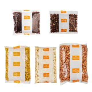 Mélange pour apéritifs : maïs grillés, graines de courges, arachides brunes, noisettes, raisins secs