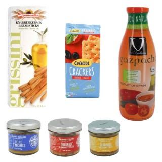 Assortiment spécial apéro : tartinables, gaspacho, crackers