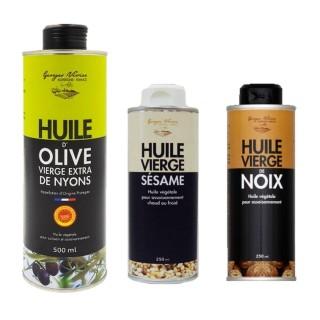 Assortiment d'huiles Rhône Alpes - Auvergne : sésame, noix, olive