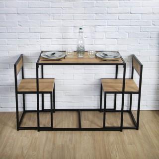 Lot d'une table et de 2 chaises Otis - Noir
