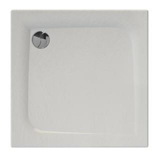 Receveur de douche carré effet pierre Mooneo - L. 80 x l. 80 cm - Blanc