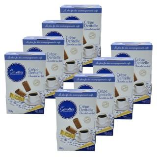 Lot 8x Crêpe dentelle chocolat au lait - Gavottes - boîte 750g