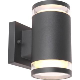 Applique d'extérieur double en Inox - H. 16,5 cm - Noir