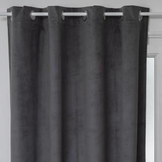 Rideau de salon occultant 8 œillets modèle Otto - 140 x 260 cm - Noir