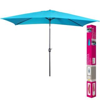 Parasol inclinable avec mat en aluminium - Turquoise -  200 x 300 cm