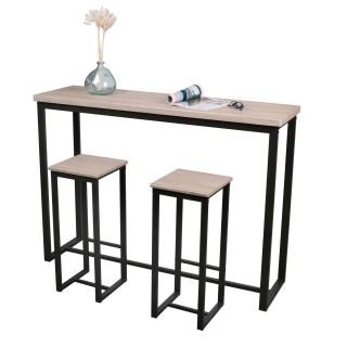 Table de bar Dock et 2 Tabourets - Hauteur 1 mètre - Métal et bois